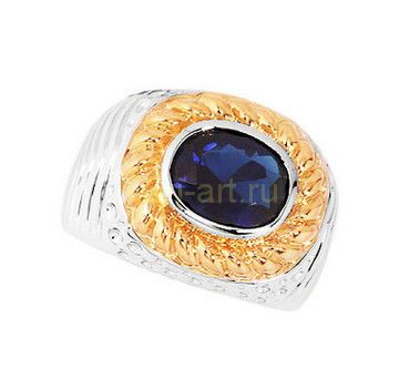 Стильное позолоченное мужское кольцо с сапфиром